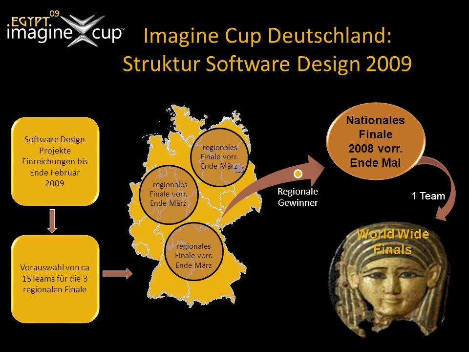 Imagine Cup Deutschland: Struktur Software Design 2009 Regionale Gewinner Nationales Finale 2008 vorr.
