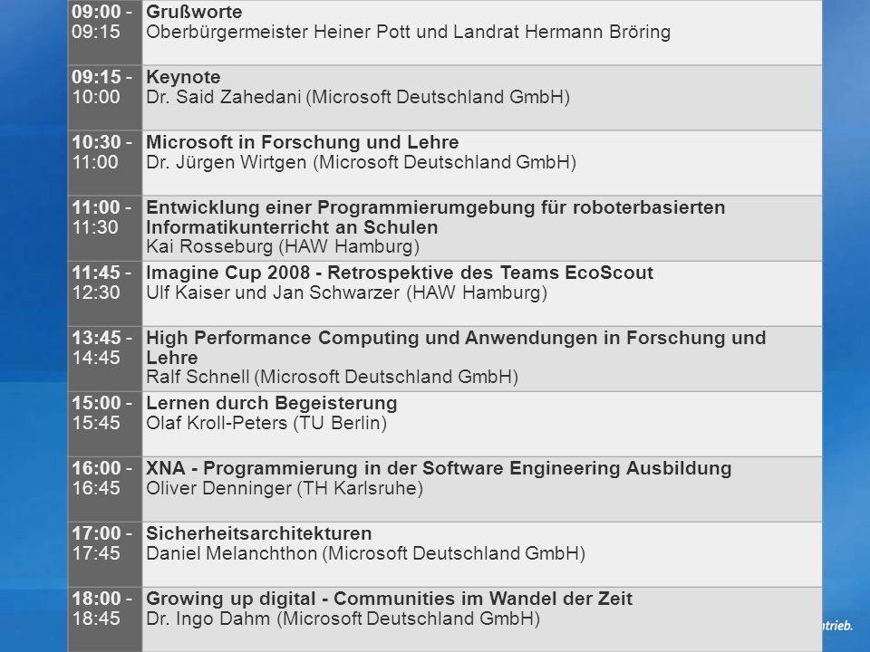 09:00 - 09:15 Grußworte Oberbürgermeister Heiner Pott und Landrat Hermann Bröring 09:15 - 10:00 Keynote Dr.