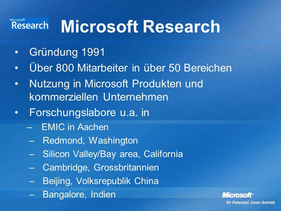Microsoft Research Gründung 1991 Über 800 Mitarbeiter in über 50 Bereichen Nutzung in Microsoft Produkten und kommerziellen Unternehmen Forschungslabore u.a.