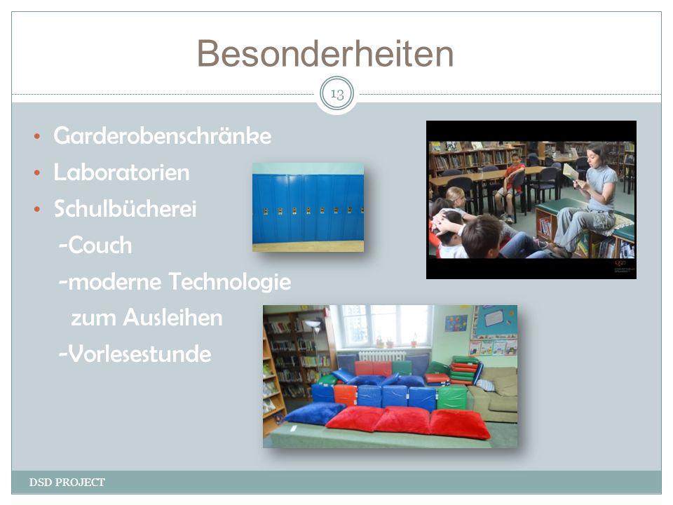 DSD PROJECT 13 Garderobenschränke Laboratorien Schulbücherei -Couch -moderne Technologie zum Ausleihen -Vorlesestunde Besonderheiten