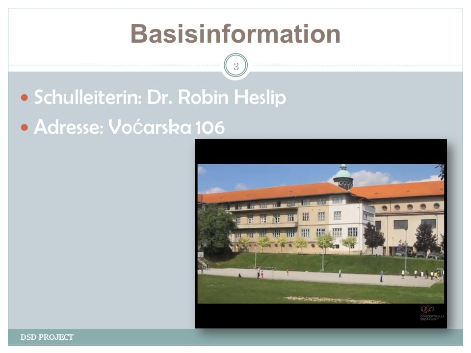 Basisinformation DSD PROJECT 3 Schulleiterin: Dr. Robin Heslip Adresse: Vo ć arska 106