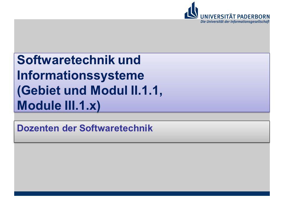 Softwaretechnik und Informationssysteme (Gebiet und Modul II.1.1, Module III.1.x) Dozenten der Softwaretechnik