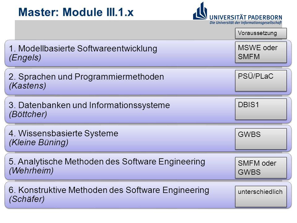 Master: Module III.1.x 1. Modellbasierte Softwareentwicklung (Engels) 2.