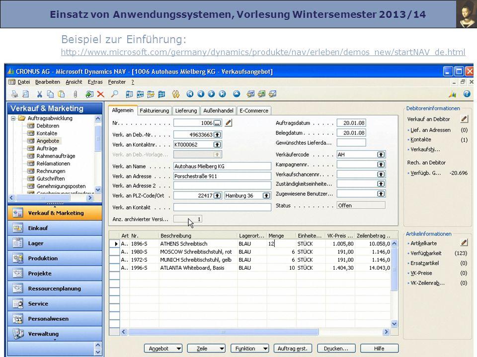 Einsatz von Anwendungssystemen, Vorlesung Wintersemester 2013/14 Prof. Dr. Herrad Schmidt WS 13/14 Kapitel 1 Folie 10 Beispiel zur Einführung: http://