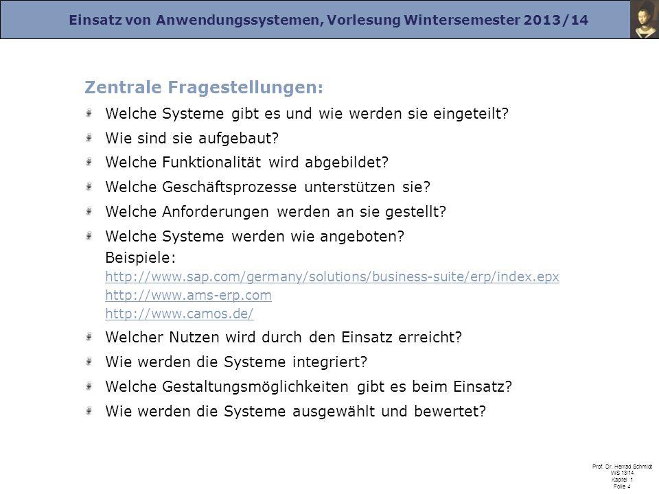 Einsatz von Anwendungssystemen, Vorlesung Wintersemester 2013/14 Prof. Dr. Herrad Schmidt WS 13/14 Kapitel 1 Folie 4 Zentrale Fragestellungen: Welche