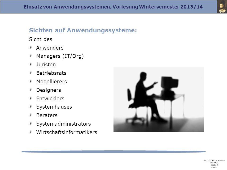 Einsatz von Anwendungssystemen, Vorlesung Wintersemester 2013/14 Prof. Dr. Herrad Schmidt WS 13/14 Kapitel 1 Folie 5 Sichten auf Anwendungssysteme: Si