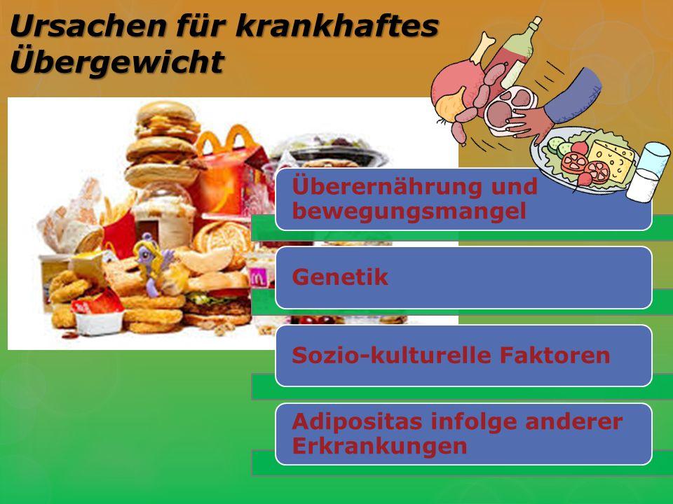 Überernährung und bewegungsmangel GenetikSozio-kulturelle Faktoren Adipositas infolge anderer Erkrankungen Ursachen für krankhaftes Übergewicht
