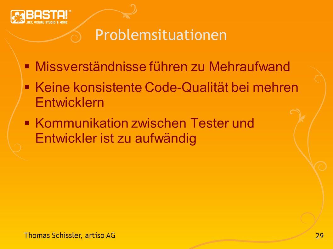 29 Problemsituationen Missverständnisse führen zu Mehraufwand Keine konsistente Code-Qualität bei mehren Entwicklern Kommunikation zwischen Tester und