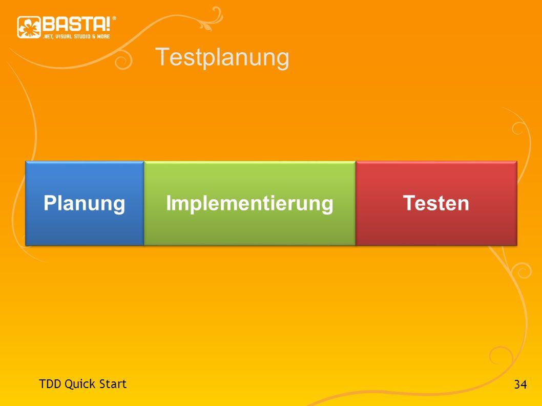 34 Testplanung TDD Quick Start Planung Implementierung Testen