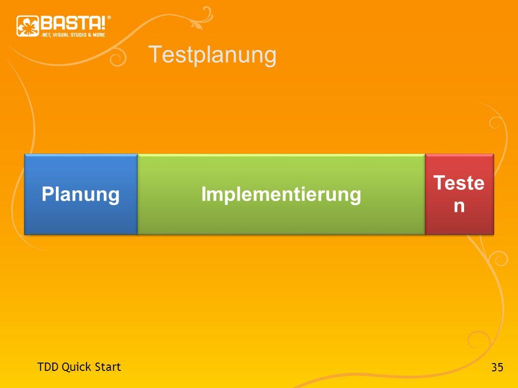 35 Testplanung TDD Quick Start Planung Implementierung Teste n