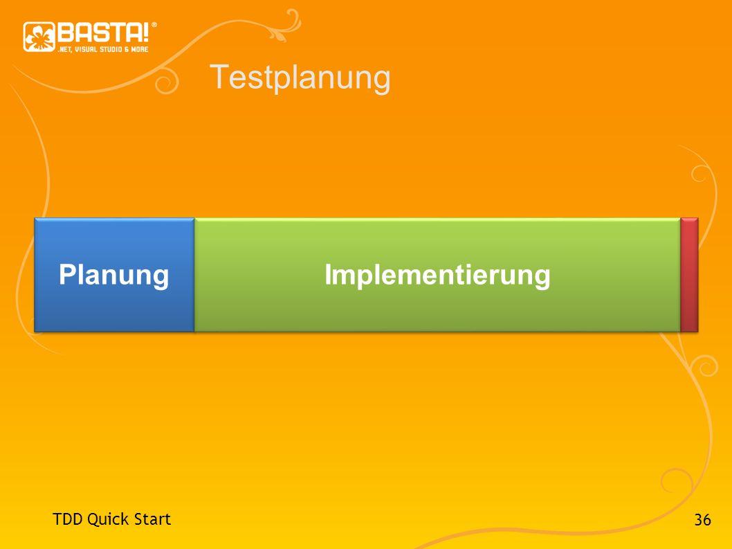 36 Testplanung TDD Quick Start Planung Implementierung