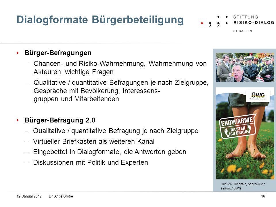 Dialogformate Bürgerbeteiligung Bürger-Befragungen Chancen- und Risiko-Wahrnehmung, Wahrnehmung von Akteuren, wichtige Fragen Qualitative / quantitati