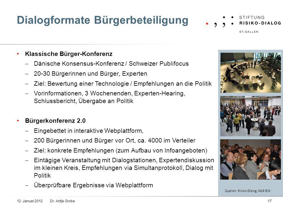 Dialogformate Bürgerbeteiligung Klassische Bürger-Konferenz Dänische Konsensus-Konferenz / Schweizer Publifocus 20-30 Bürgerinnen und Bürger, Experten