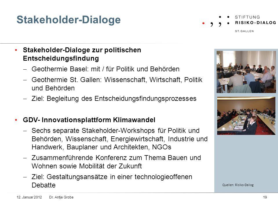 Stakeholder-Dialoge Stakeholder-Dialoge zur politischen Entscheidungsfindung Geothermie Basel: mit / für Politik und Behörden Geothermie St. Gallen: W