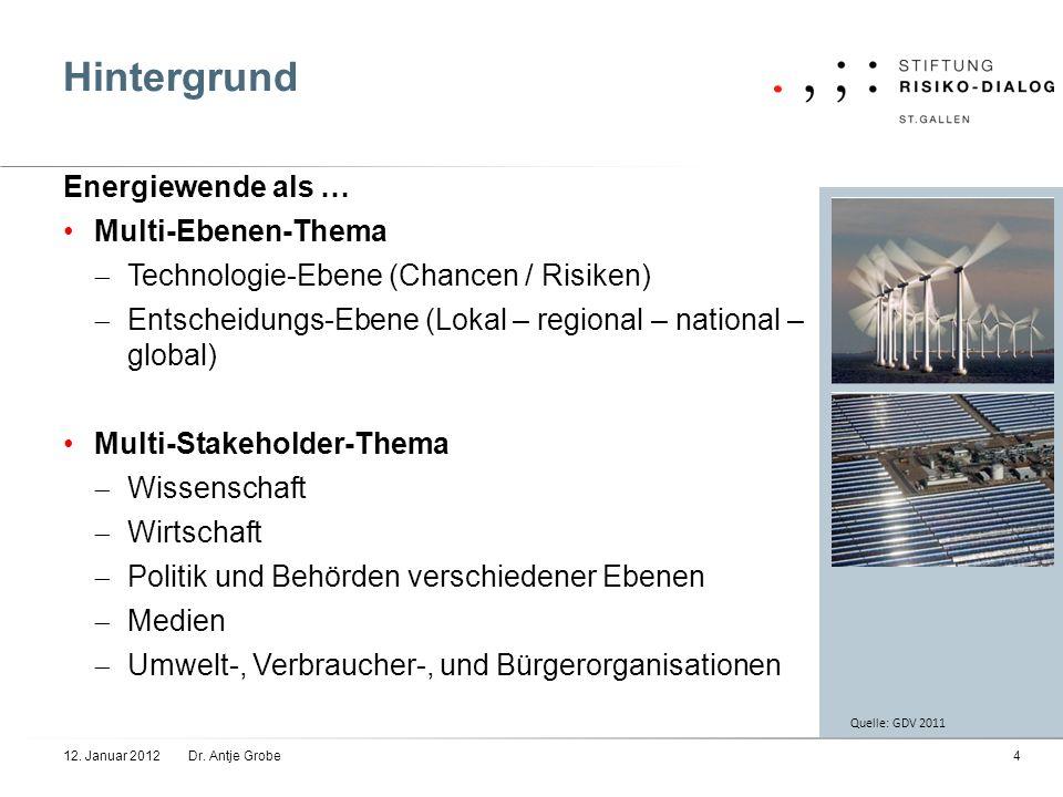 Hintergrund 12. Januar 2012Dr. Antje Grobe4 Energiewende als … Multi-Ebenen-Thema Technologie-Ebene (Chancen / Risiken) Entscheidungs-Ebene (Lokal – r