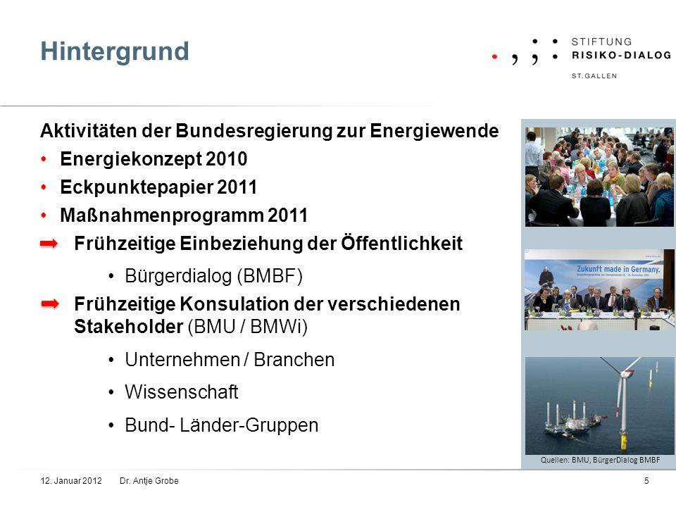 Hintergrund 12. Januar 2012Dr. Antje Grobe5 Aktivitäten der Bundesregierung zur Energiewende Energiekonzept 2010 Eckpunktepapier 2011 Maßnahmenprogram