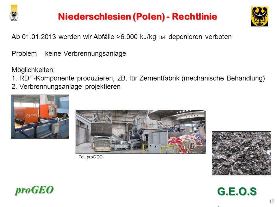 proGEO Niederschlesien (Polen) - Rechtlinie 12 G.E.O.S. Ab 01.01.2013 werden wir Abfälle >6.000 kJ/kg T.M. deponieren verboten Problem – keine Verbren