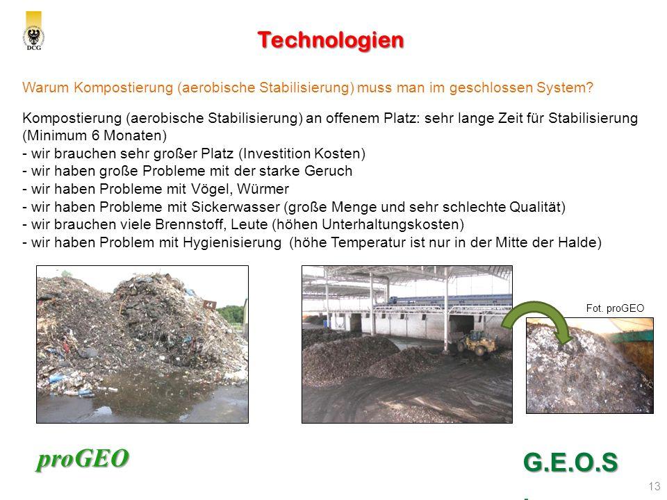 proGEO Technologien 13 G.E.O.S. Warum Kompostierung (aerobische Stabilisierung) muss man im geschlossen System? Kompostierung (aerobische Stabilisieru