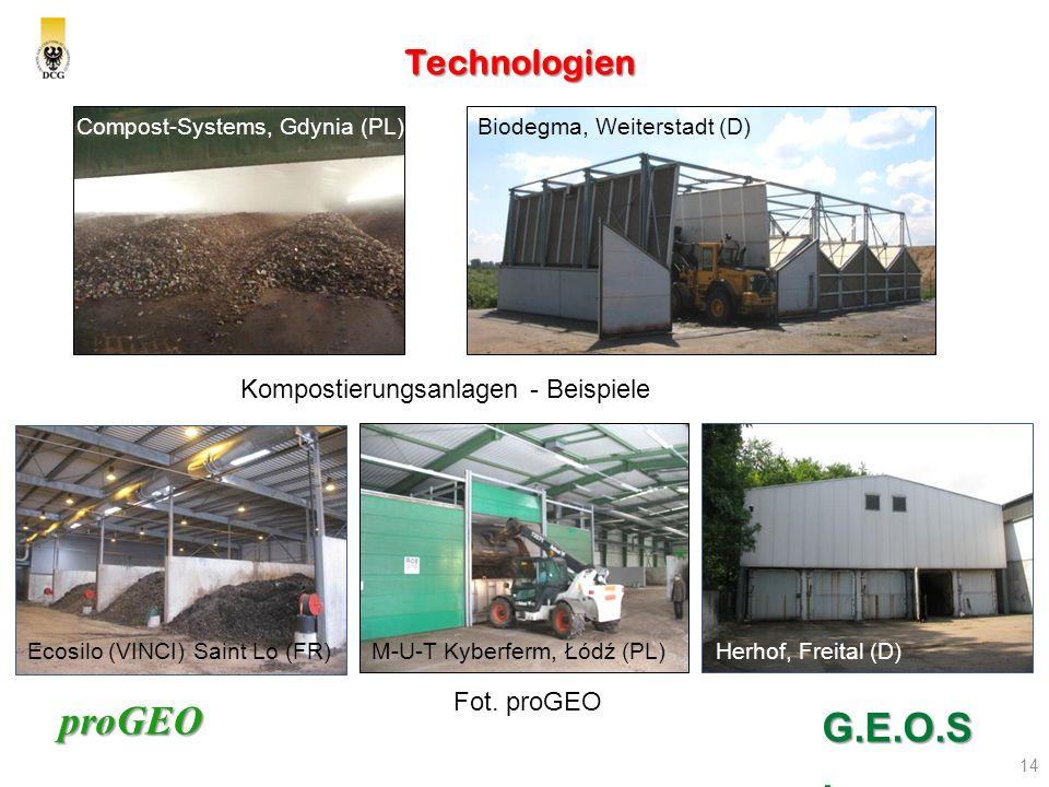 proGEO Technologien 14 G.E.O.S. Kompostierungsanlagen - Beispiele Compost-Systems, Gdynia (PL) Herhof, Freital (D)M-U-T Kyberferm, Łódź (PL)Ecosilo (V