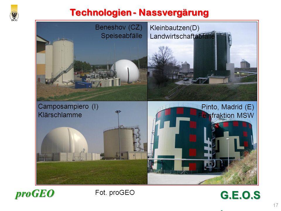 proGEO Technologien - Nassvergärung 17 G.E.O.S. nach K. Schu 2008 Beneshov (CZ) Speiseabfälle Camposampiero (I) Klärschlamme Pinto, Madrid (E) Feinfra