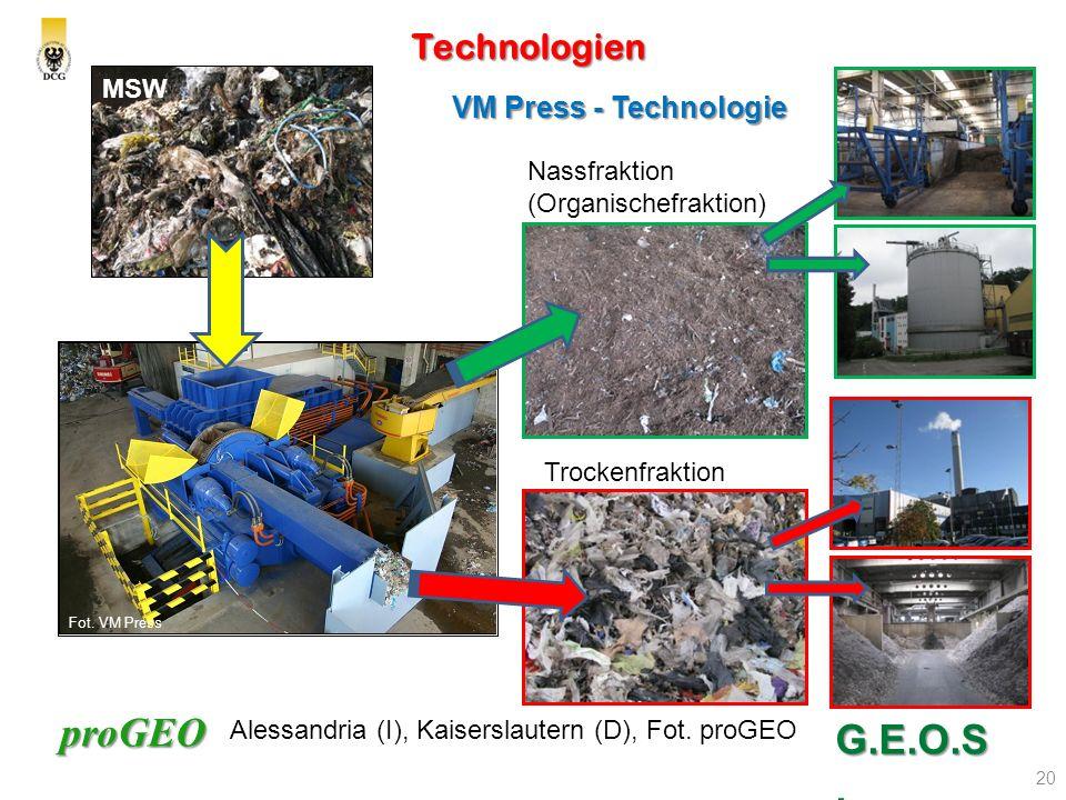 proGEO Technologien 20 G.E.O.S. VM Press - Technologie Nassfraktion (Organischefraktion) Trockenfraktion MSW Alessandria (I), Kaiserslautern (D), Fot.