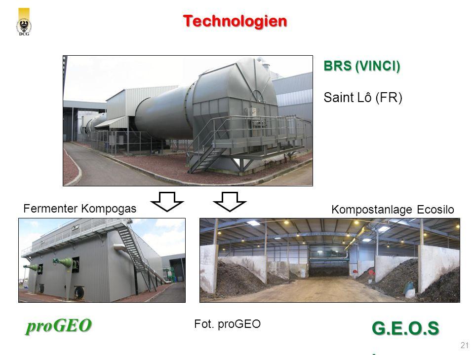 proGEO Technologien 21 G.E.O.S. MSW Fot. proGEO BRS (VINCI) Saint Lô (FR) Fermenter Kompogas Kompostanlage Ecosilo