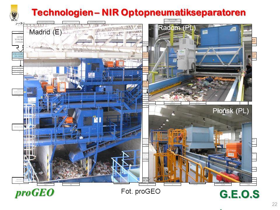 proGEO Technologien – NIR Optopneumatikseparatoren 22 G.E.O.S. Madrid (E) Płońsk (PL) Radom (PL) Fot. proGEO