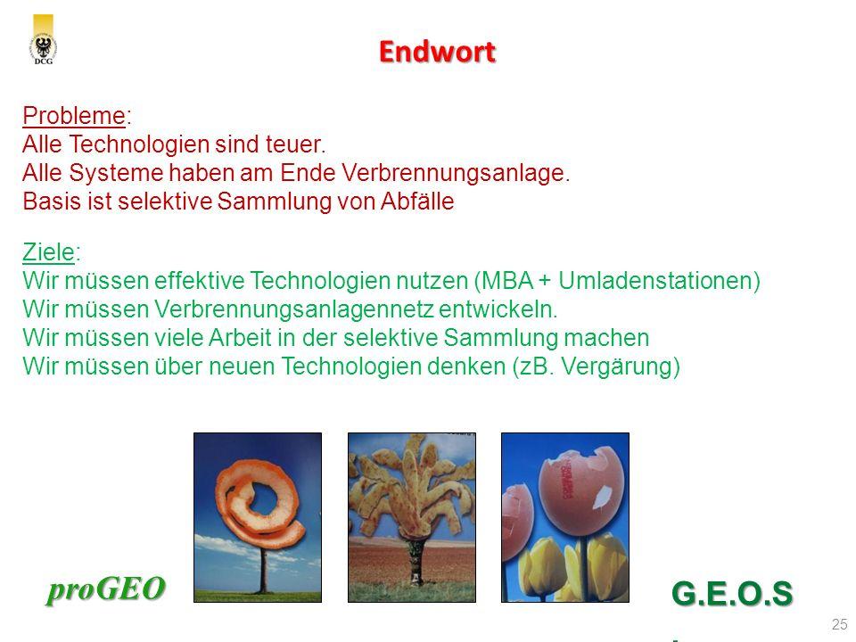 proGEO Endwort 25 G.E.O.S. Probleme: Alle Technologien sind teuer. Alle Systeme haben am Ende Verbrennungsanlage. Basis ist selektive Sammlung von Abf