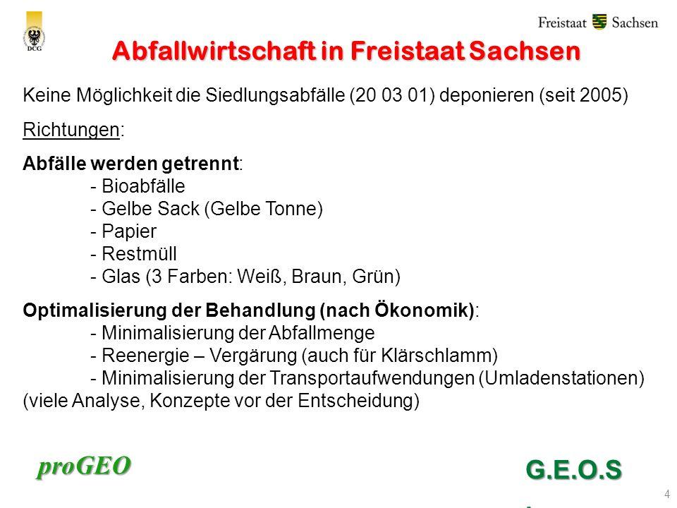 proGEO Abfallwirtschaft in Freistaat Sachsen 4 Keine Möglichkeit die Siedlungsabfälle (20 03 01) deponieren (seit 2005) Richtungen: Abfälle werden getrennt: - Bioabfälle - Gelbe Sack (Gelbe Tonne) - Papier - Restmüll - Glas (3 Farben: Weiß, Braun, Grün) Optimalisierung der Behandlung (nach Ökonomik): - Minimalisierung der Abfallmenge - Reenergie – Vergärung (auch für Klärschlamm) - Minimalisierung der Transportaufwendungen (Umladenstationen) (viele Analyse, Konzepte vor der Entscheidung) G.E.O.S.