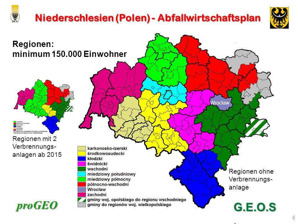 proGEO Niederschlesien (Polen) - Abfallwirtschaftsplan 6 Regionen: minimum 150.000 Einwohner G.E.O.S. Regionen mit 2 Verbrennungs- anlagen ab 2015 Reg