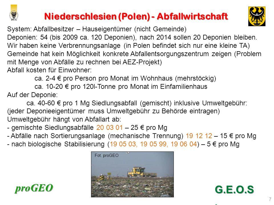 proGEO Niederschlesien (Polen) - Abfallwirtschaft 7 G.E.O.S. System: Abfallbesitzer – Hauseigentümer (nicht Gemeinde) Deponien: 54 (bis 2009 ca. 120 D