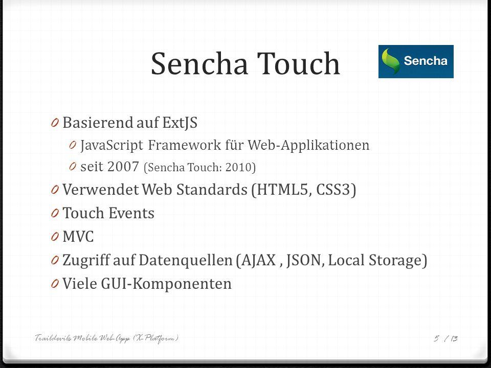 / 13 Sencha Touch – Hello World new Ext.Application({ launch: function() { new Ext.Panel({ fullscreen: true, html: Hello World! }); } }); Traildevils Mobile Web-App (X-Platform) 6