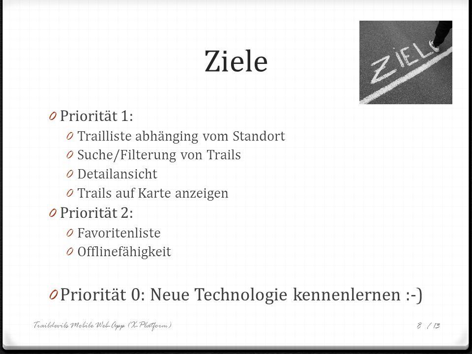 / 13 Ziele 0 Priorität 1: 0 Trailliste abhänging vom Standort 0 Suche/Filterung von Trails 0 Detailansicht 0 Trails auf Karte anzeigen 0 Priorität 2: 0 Favoritenliste 0 Offlinefähigkeit 0 Priorität 0: Neue Technologie kennenlernen :-) Traildevils Mobile Web-App (X-Platform) 8