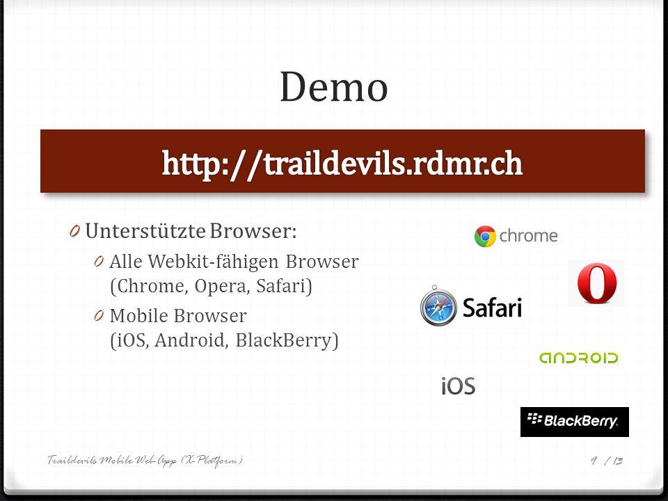 / 13 UI Richtlinien 0 Look & Feel von iOS Apps 0 Dank CSS einfach austauschbar 0 Vorgaben: Apple, Android, BlackBerry 0 Orientierung an Standards Pull-Down Refresh Swipe Options Menu Traildevils Mobile Web-App (X-Platform) 10 Filter/Suche-Textfeld