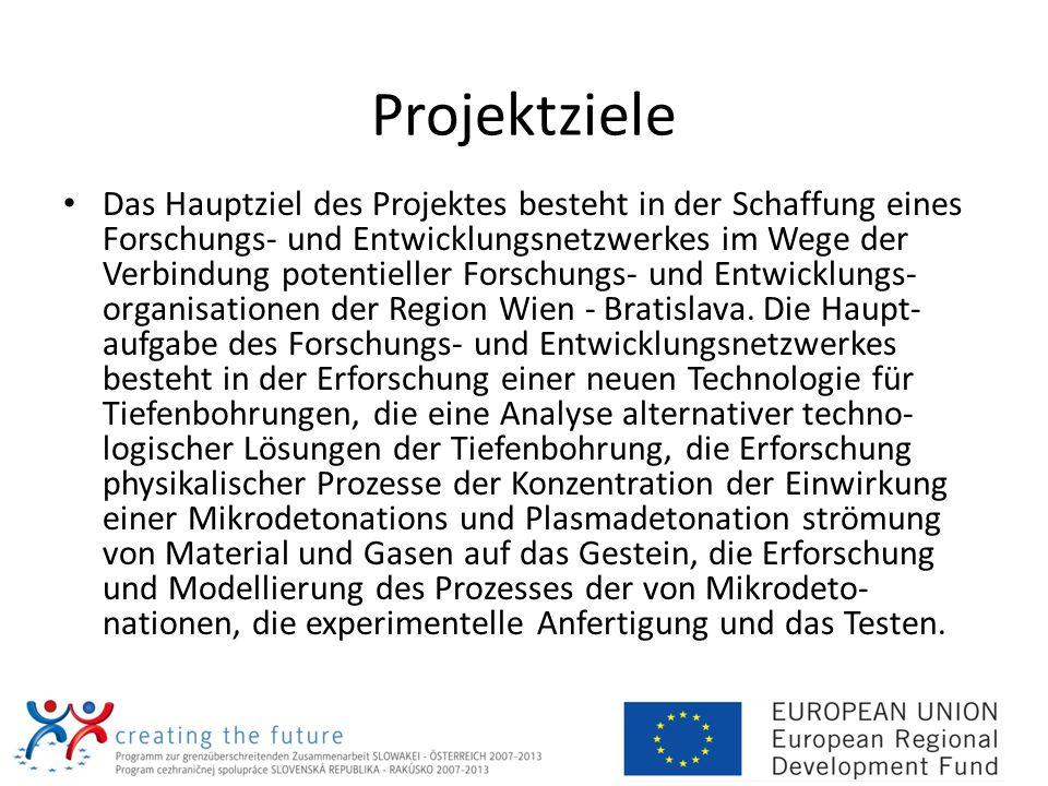 Projektziele Das Hauptziel des Projektes besteht in der Schaffung eines Forschungs- und Entwicklungsnetzwerkes im Wege der Verbindung potentieller For