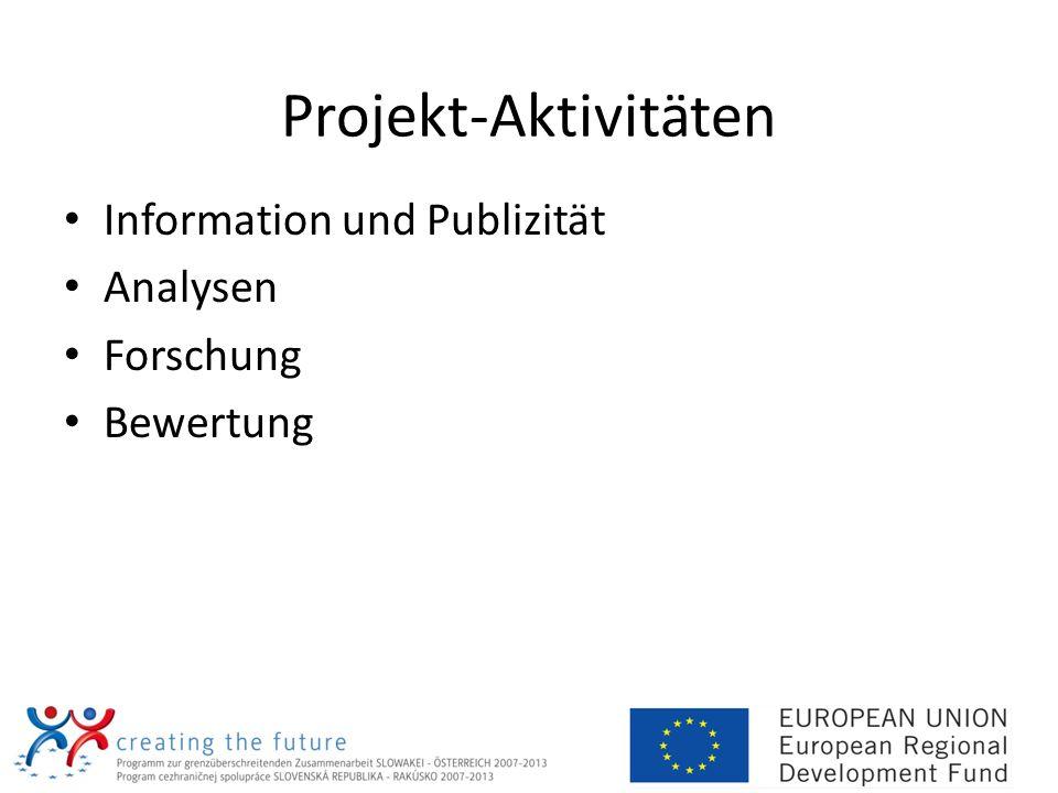 Projekt-Aktivitäten Information und Publizität Analysen Forschung Bewertung