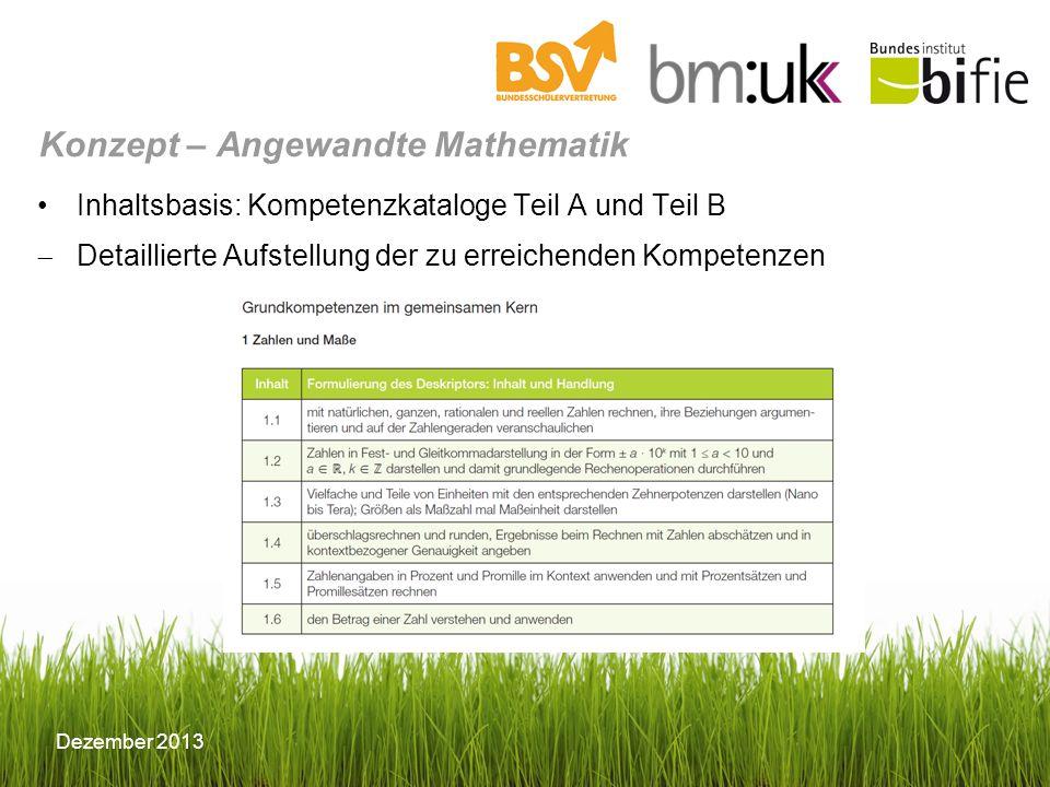 Dezember 2013 Inhaltsbasis: Kompetenzkataloge Teil A und Teil B Detaillierte Aufstellung der zu erreichenden Kompetenzen Konzept – Angewandte Mathemat