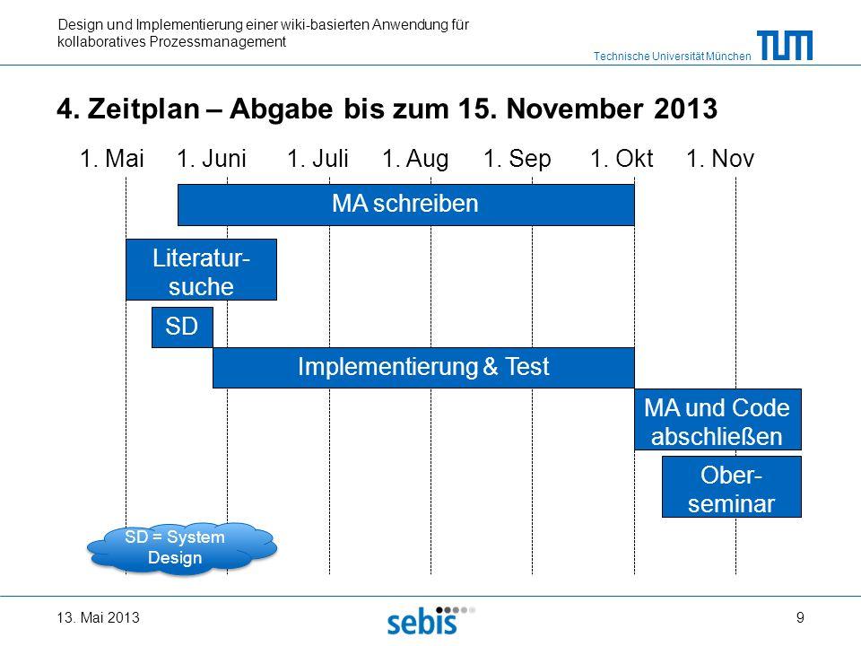 Technische Universität München Design und Implementierung einer wiki-basierten Anwendung für kollaboratives Prozessmanagement 1. Mai1. Okt1. Nov1. Sep