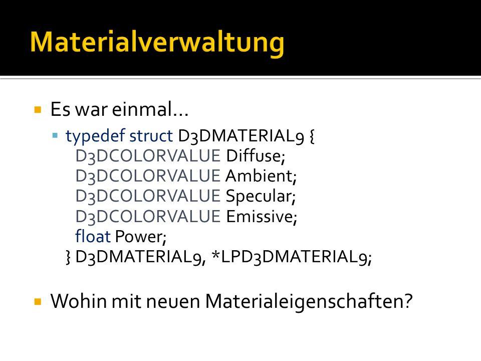 Es war einmal… typedef struct D3DMATERIAL9 { D3DCOLORVALUE Diffuse; D3DCOLORVALUE Ambient; D3DCOLORVALUE Specular; D3DCOLORVALUE Emissive; float Power; } D3DMATERIAL9, *LPD3DMATERIAL9; Wohin mit neuen Materialeigenschaften