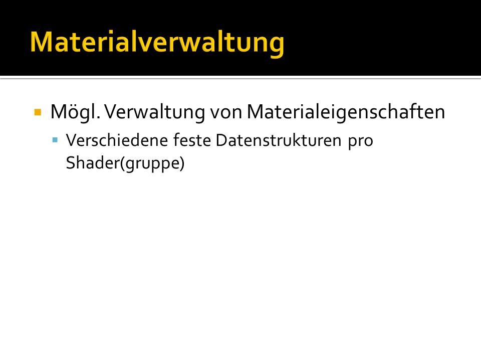 Mögl. Verwaltung von Materialeigenschaften Verschiedene feste Datenstrukturen pro Shader(gruppe)