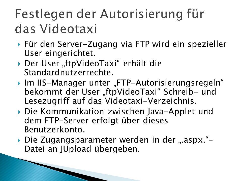 Für den Server-Zugang via FTP wird ein spezieller User eingerichtet. Der User ftpVideoTaxi erhält die Standardnutzerrechte. Im IIS-Manager unter FTP-A