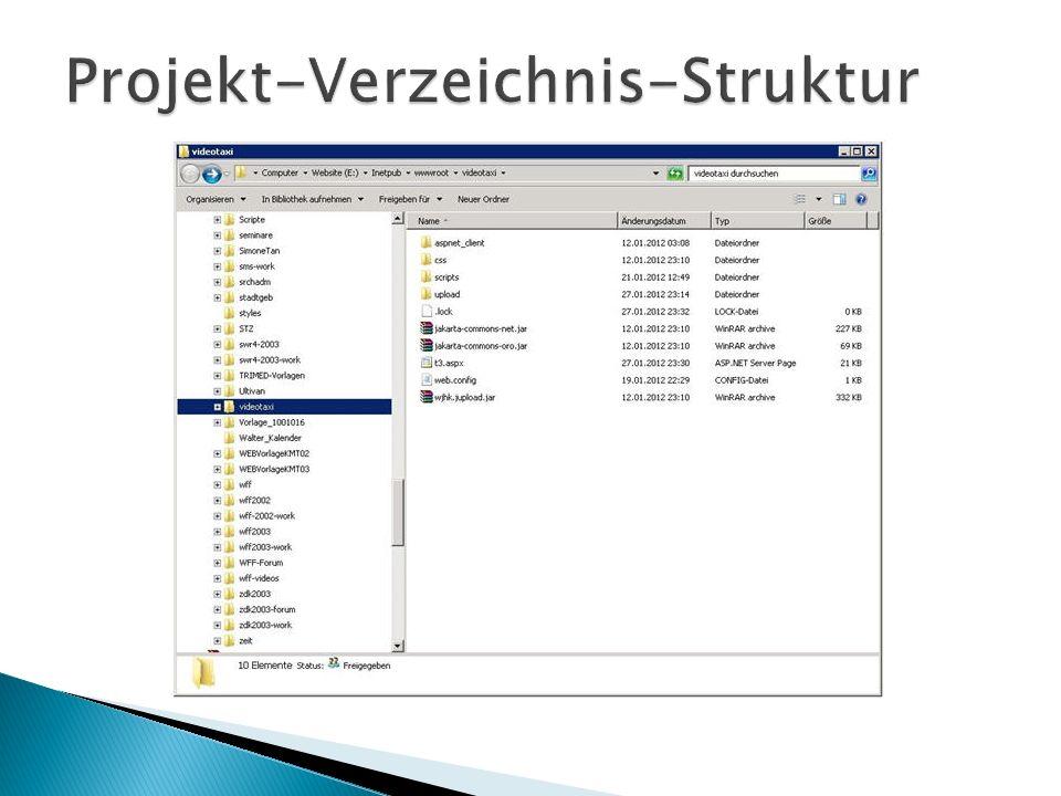aspnet_client: Dieser Ordner wird automatisch durch den IIS-Manager angelegt, da das Videotaxi ein ASP.NET- Projekt ist.