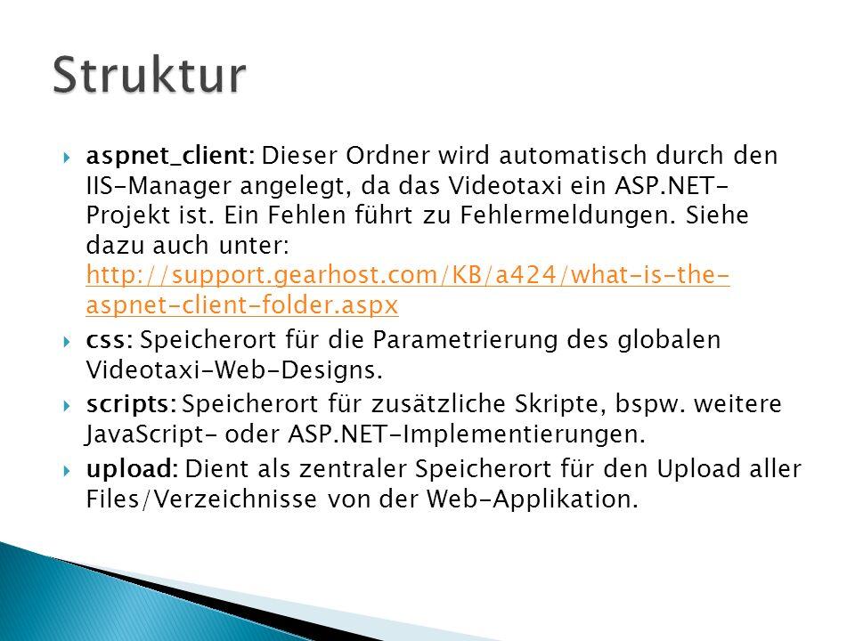 aspnet_client: Dieser Ordner wird automatisch durch den IIS-Manager angelegt, da das Videotaxi ein ASP.NET- Projekt ist. Ein Fehlen führt zu Fehlermel
