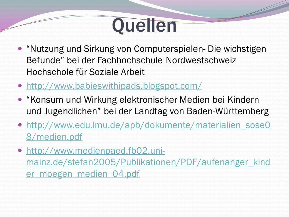 Quellen Nutzung und Sirkung von Computerspielen- Die wichstigen Befunde bei der Fachhochschule Nordwestschweiz Hochschole für Soziale Arbeit http://ww