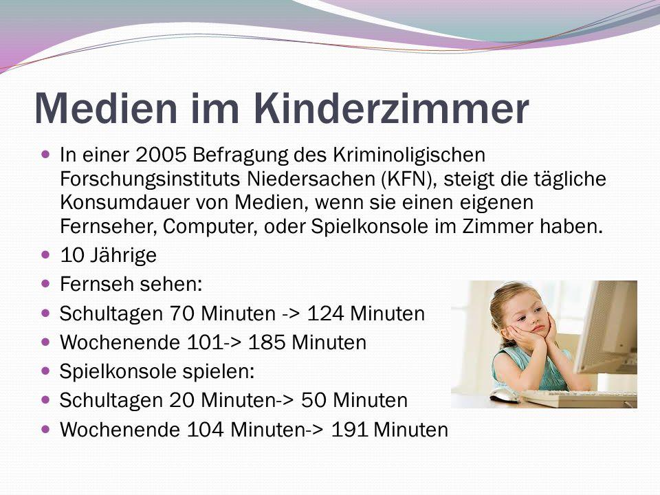 Medien im Kinderzimmer In einer 2005 Befragung des Kriminoligischen Forschungsinstituts Niedersachen (KFN), steigt die tägliche Konsumdauer von Medien