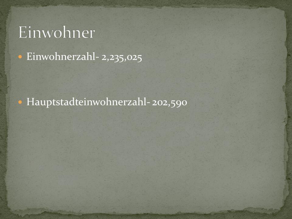 Einwohnerzahl- 2,235,025 Hauptstadteinwohnerzahl- 202,590