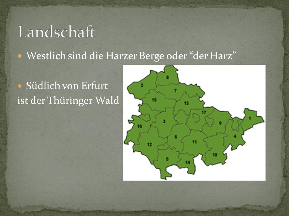 Westlich sind die Harzer Berge oder der Harz Südlich von Erfurt ist der Thüringer Wald