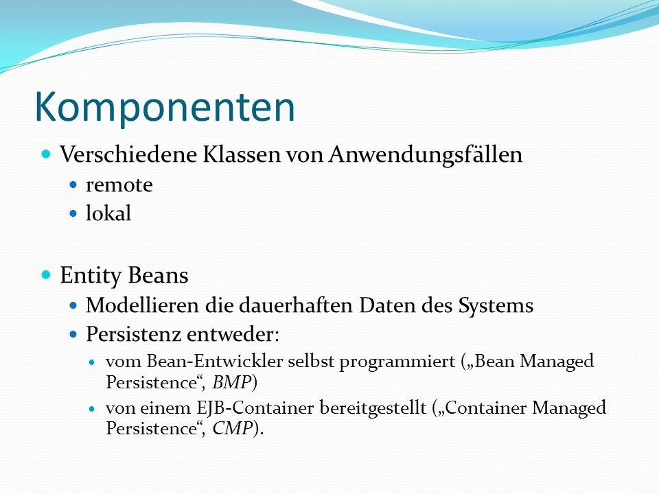 Komponenten Verschiedene Klassen von Anwendungsfällen remote lokal Entity Beans Modellieren die dauerhaften Daten des Systems Persistenz entweder: vom Bean-Entwickler selbst programmiert (Bean Managed Persistence, BMP) von einem EJB-Container bereitgestellt (Container Managed Persistence, CMP).