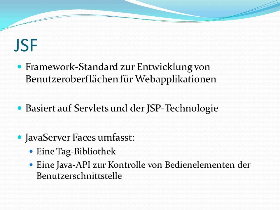 JSF Framework-Standard zur Entwicklung von Benutzeroberflächen für Webapplikationen Basiert auf Servlets und der JSP-Technologie JavaServer Faces umfasst: Eine Tag-Bibliothek Eine Java-API zur Kontrolle von Bedienelementen der Benutzerschnittstelle