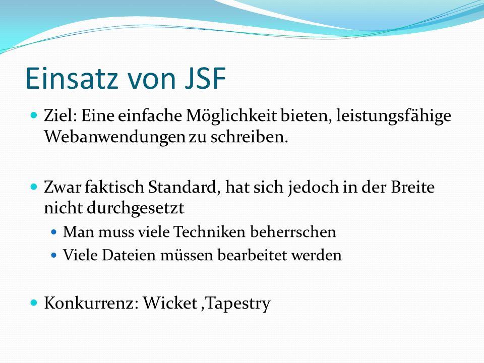 Einsatz von JSF Ziel: Eine einfache Möglichkeit bieten, leistungsfähige Webanwendungen zu schreiben.